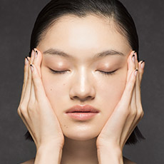 sweep your hands along your cheeks up to the temples to de-stress the lower face area